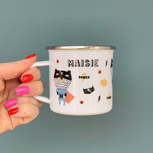 Superhero Personalised Enamel Mug