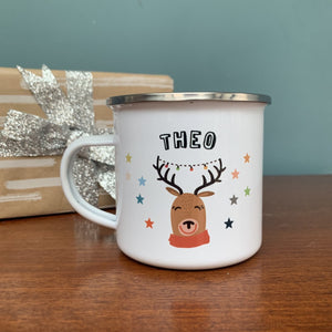 Christmas Enamel Mug with Reindeer