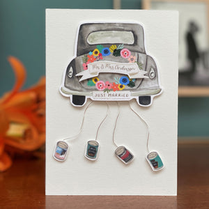Luxury Personalised Wedding Card With Wedding car & cans hanging