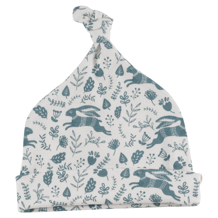 Knotted Hat with Blue Hare Print