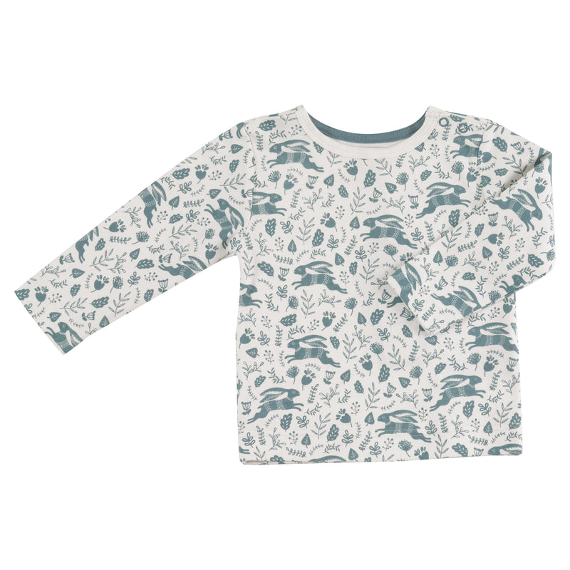 Blue Hare Print Long Sleeved Top