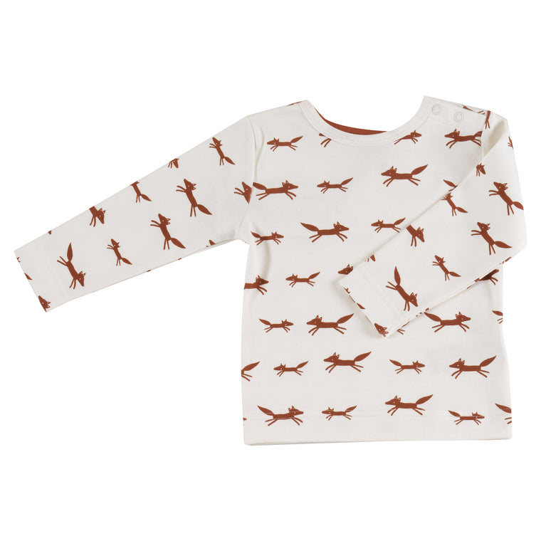 White Fox Print Long Sleeved Top