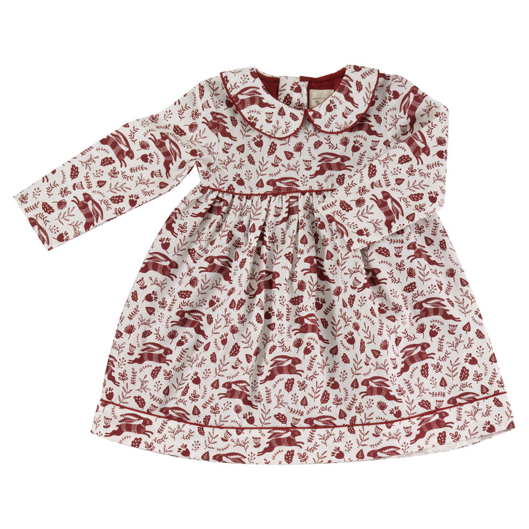 Red Hares Print Dress