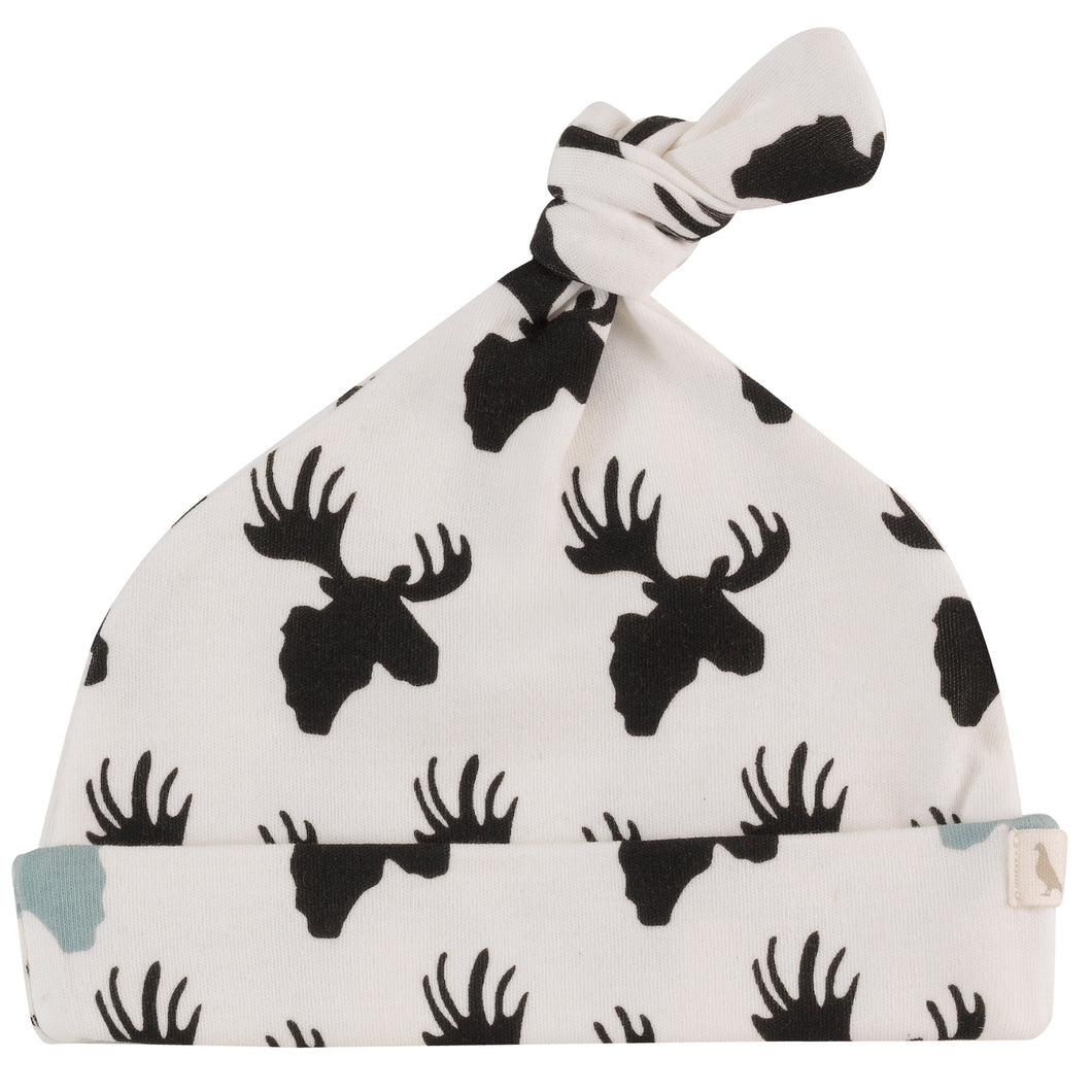 Moose Print Baby Knotted Hat