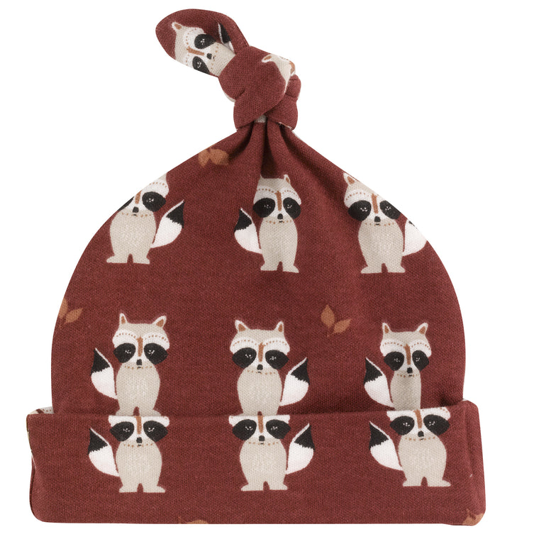 Raccoon Print Baby Knotted Hat - Spice