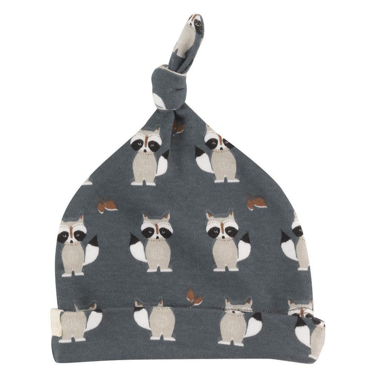 Racoon Print Baby Knotted Hat - Teal