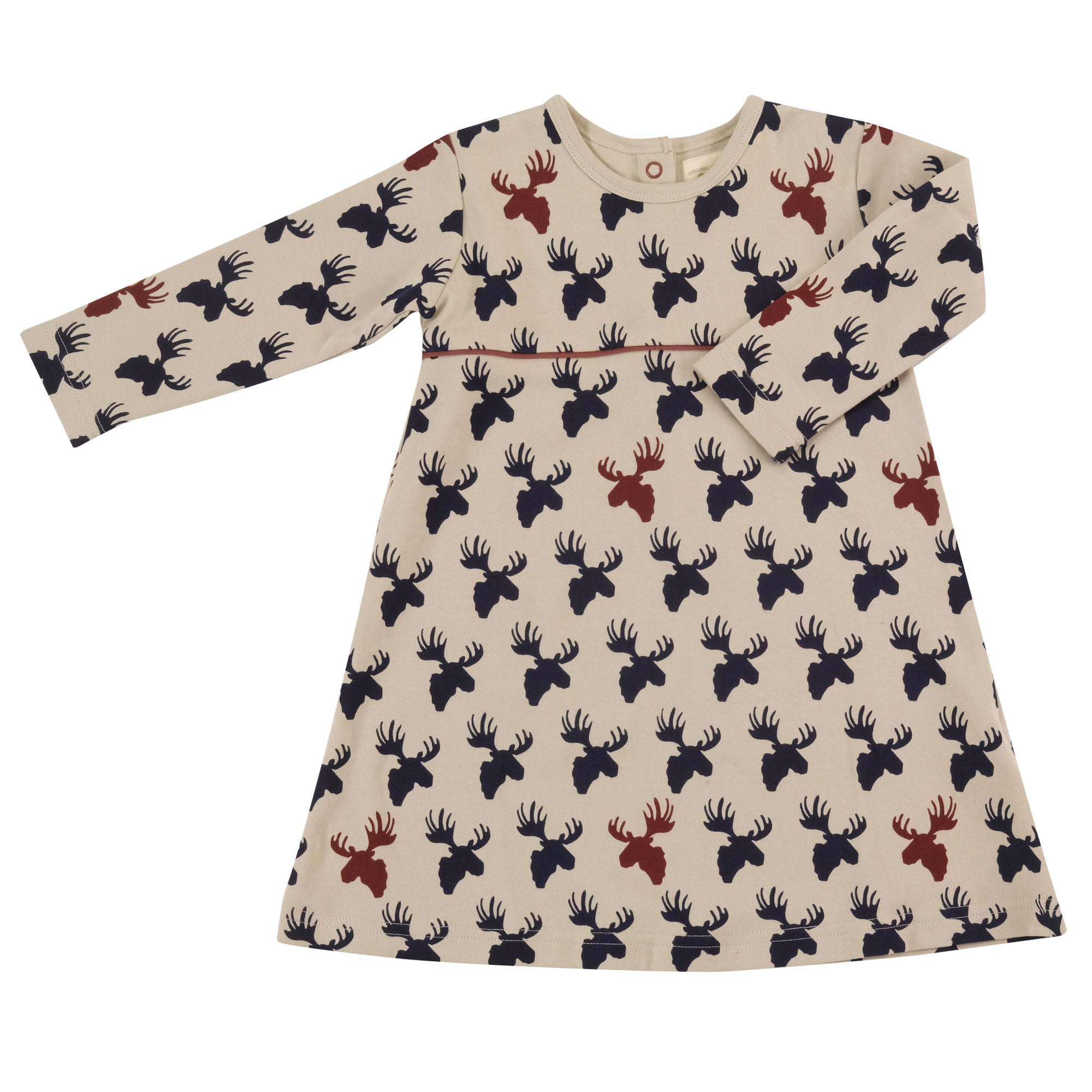 Moose Print Skater Dress - Inky Blue/Pumice
