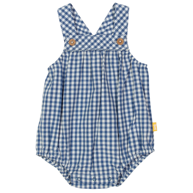 Gingham Blue Bubble Romper