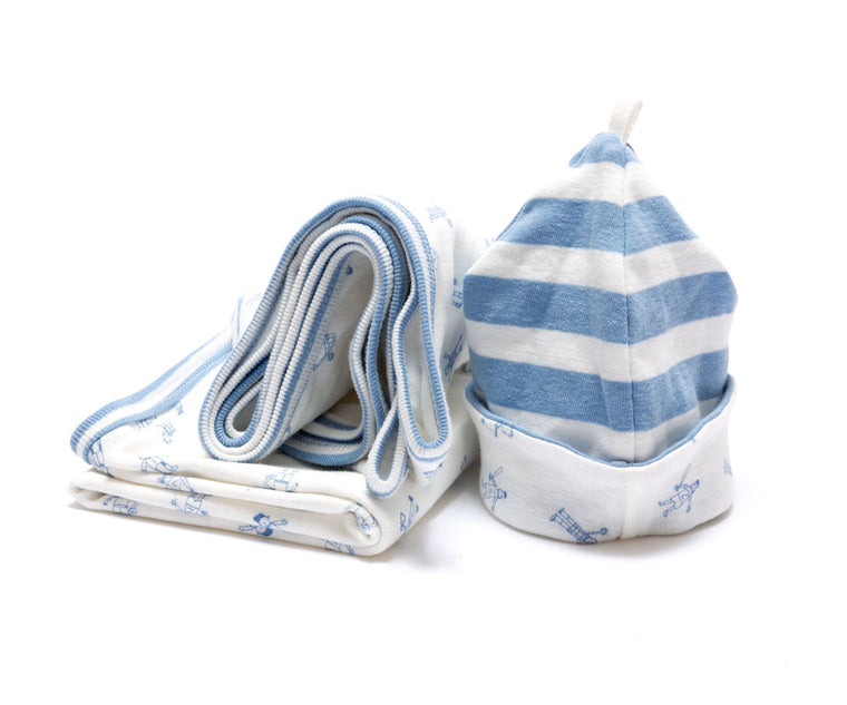 Organic Blanket and Newborn Hat Set - Blue