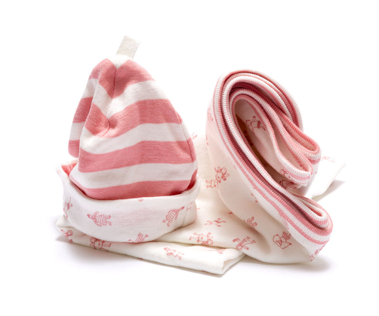 Organic Blanket and Newborn Hat Set - Pink