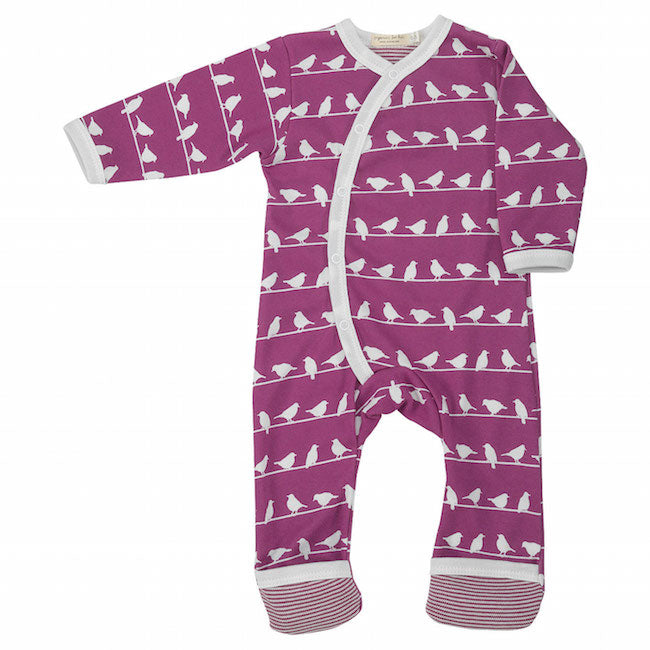Birds Romper in Raspberry