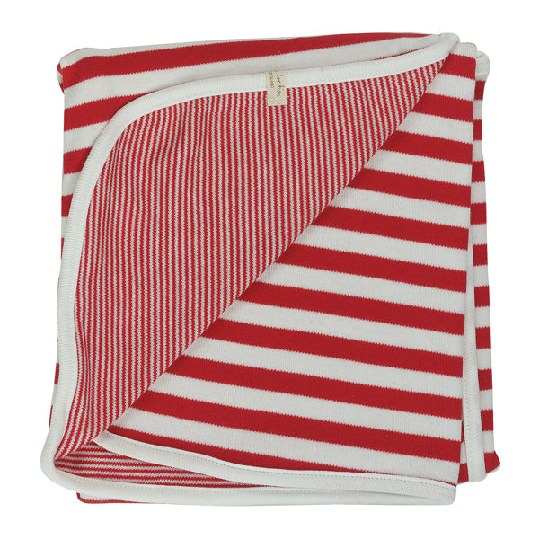 Reversible Broad Striped Blanket - Red