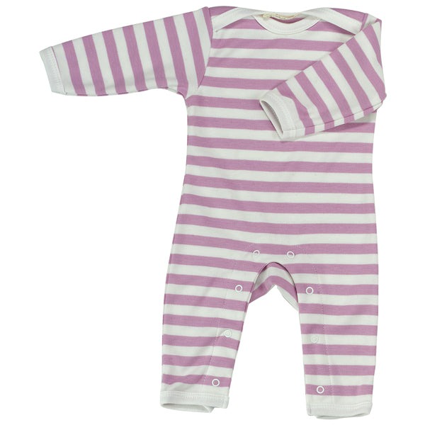 Long Broad Striped Romper - Pink