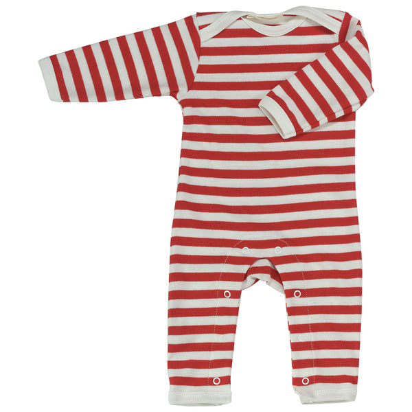 Long Broad Striped Romper - Red