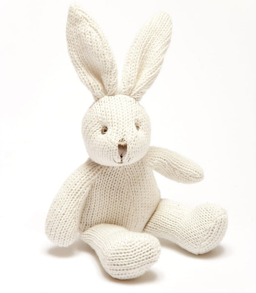 Knitted Rabbit Rattle in White, easter bunny, rabbit toy, organic soft toys