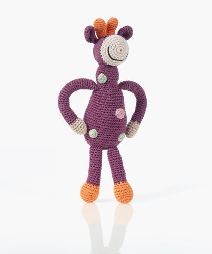 Organic Giraffe Rattle - Purple