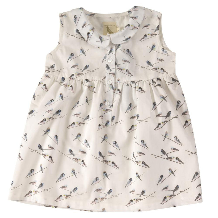 Sleeveless Bird Print Dress with Peter Pan Collar