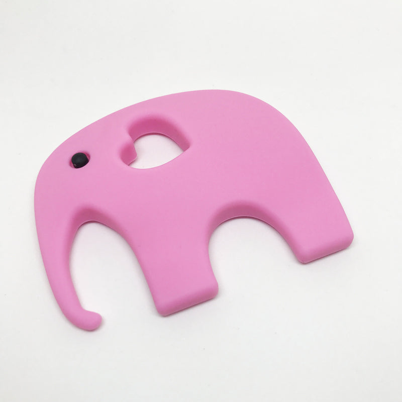 Elephant Teether - Option: with-storage-pouch, Colour: pink