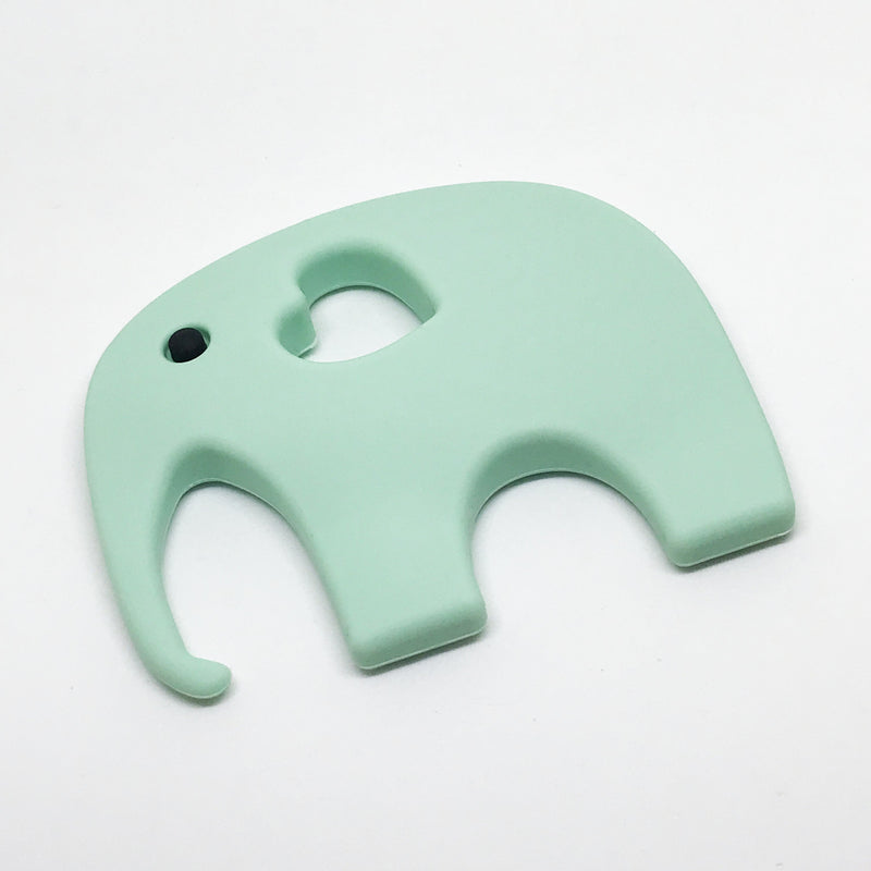 Elephant Teether - Option: with-storage-pouch, Colour: mint