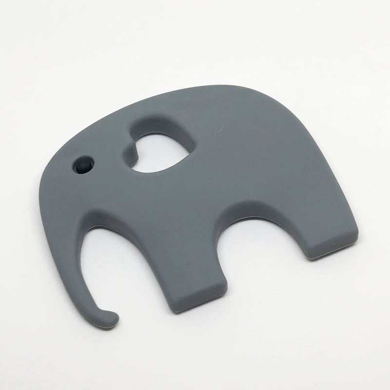 Elephant Teether - Option: with-storage-pouch, Colour: grey