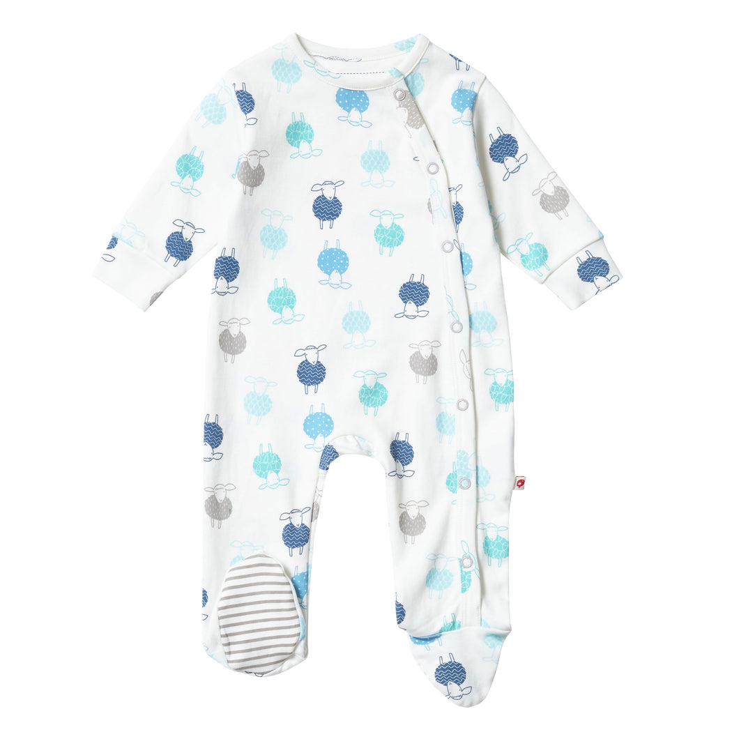 Sheep Print Organic Footed Babygrow
