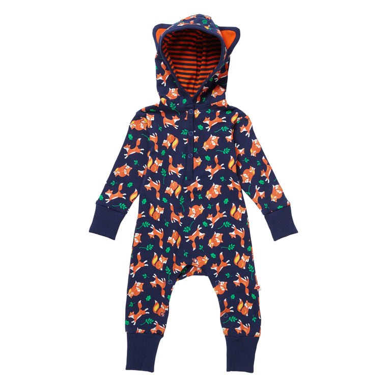 Fox Print Organic Hooded Playsuit