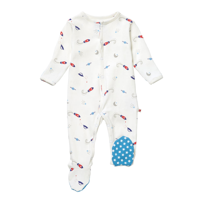 Classic Space Organic Footed Babygrow