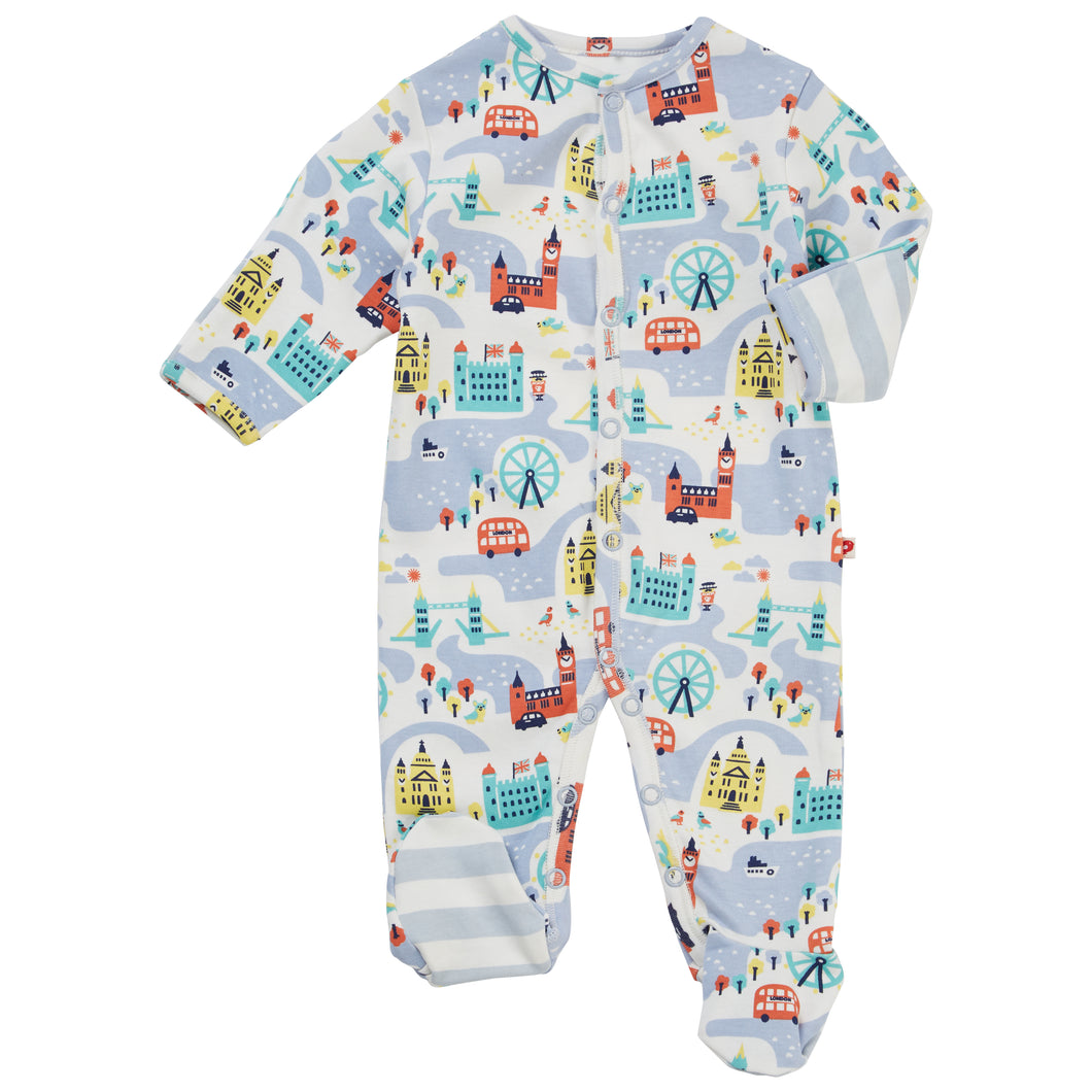 Little London Print Organic Footed Babygrow