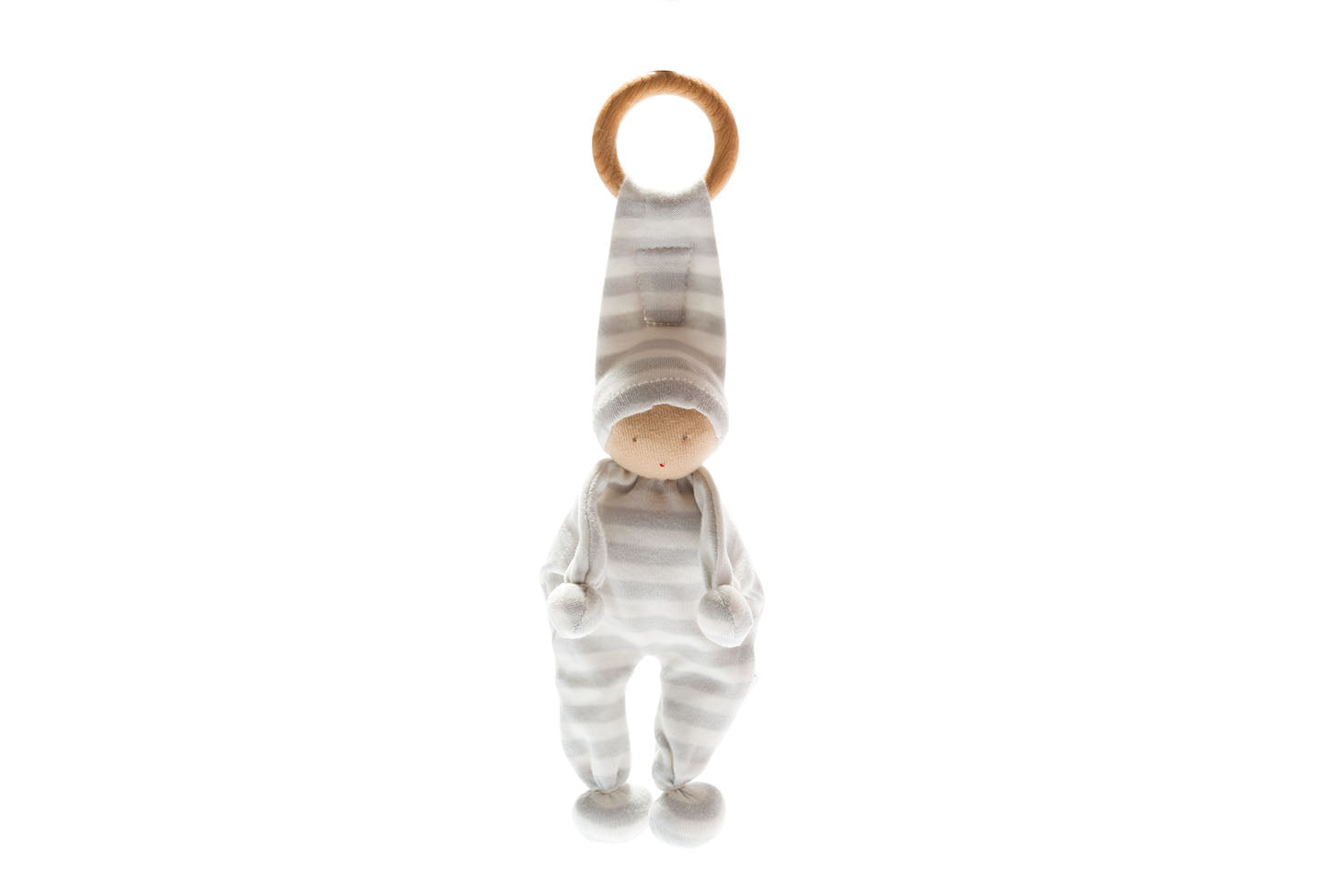 Organic Baby Buddy and Teether - Grey Stripe