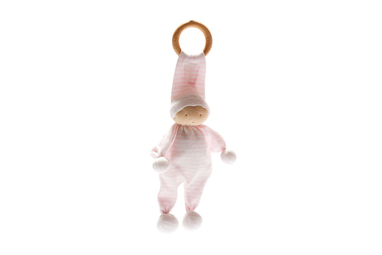 Organic Baby Buddy and Teether - Pink Stripe