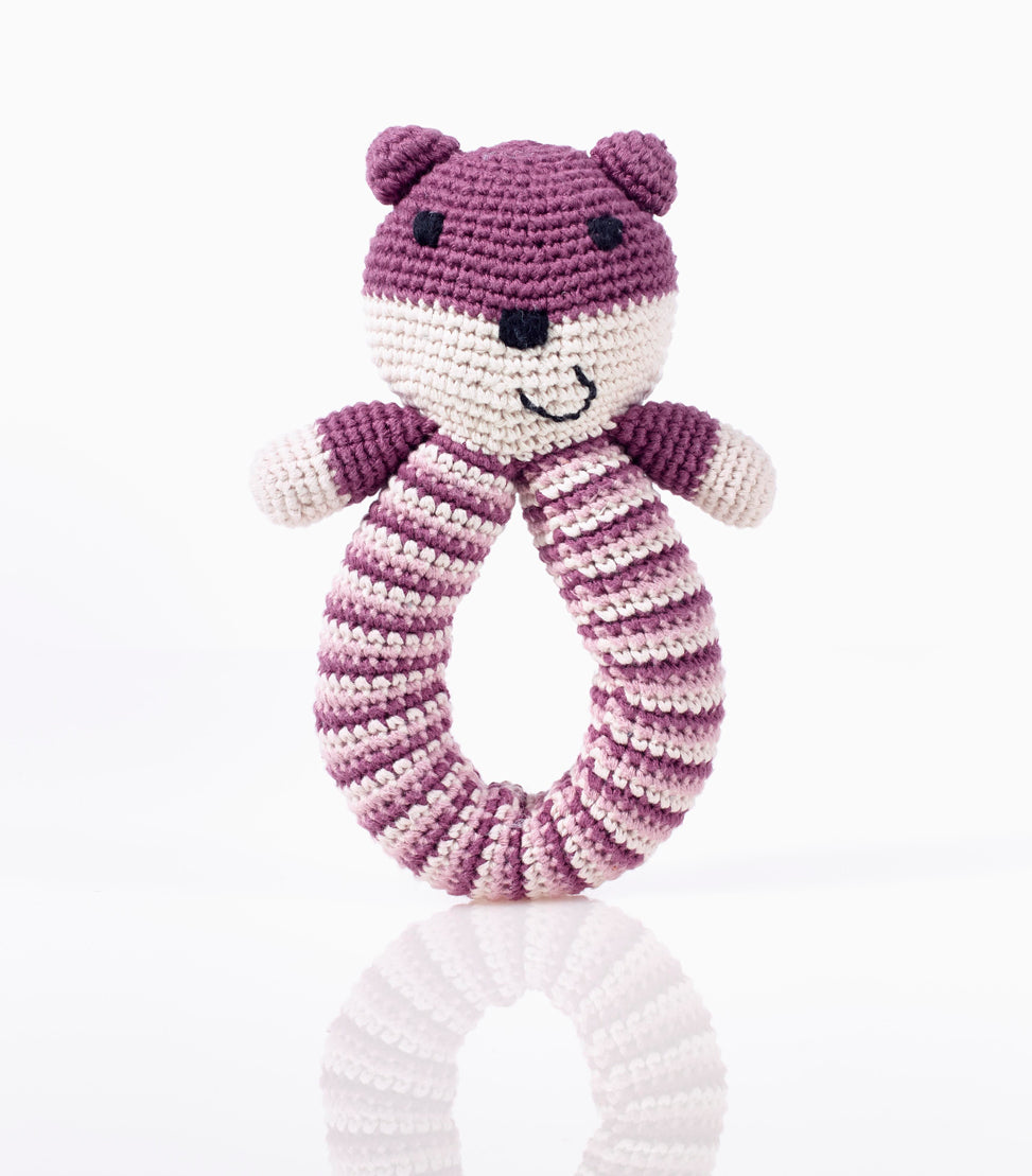 Bear Ring Rattle - Purple