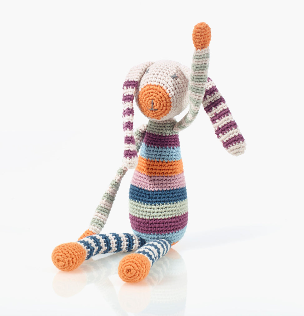 Organic Crochet Stripy Rabbit Rattle