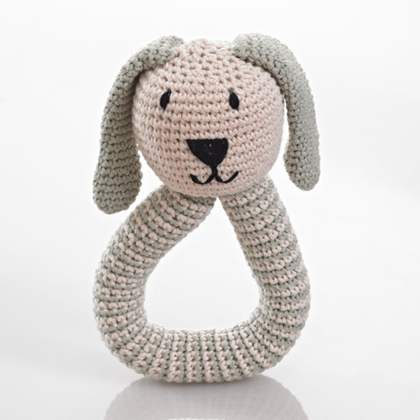 Crochet Bunny Rattle in Green
