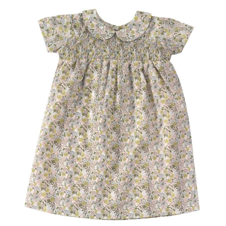 Smocked Ditsy Print Dress with Peter Pan Collar