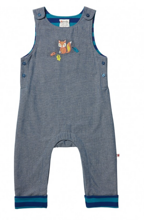 Fox Embroidered Chambray Dungarees