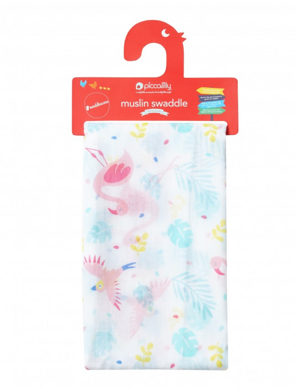 Tropical Flamingo Organic Large Muslin