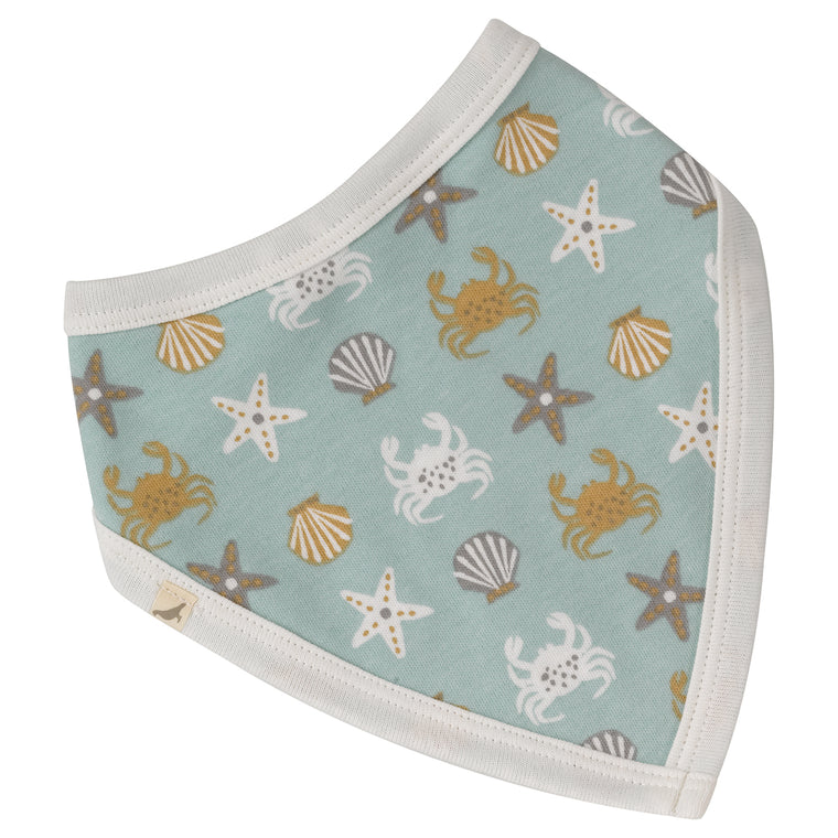Crab Print Reversible Organic Cotton Bib