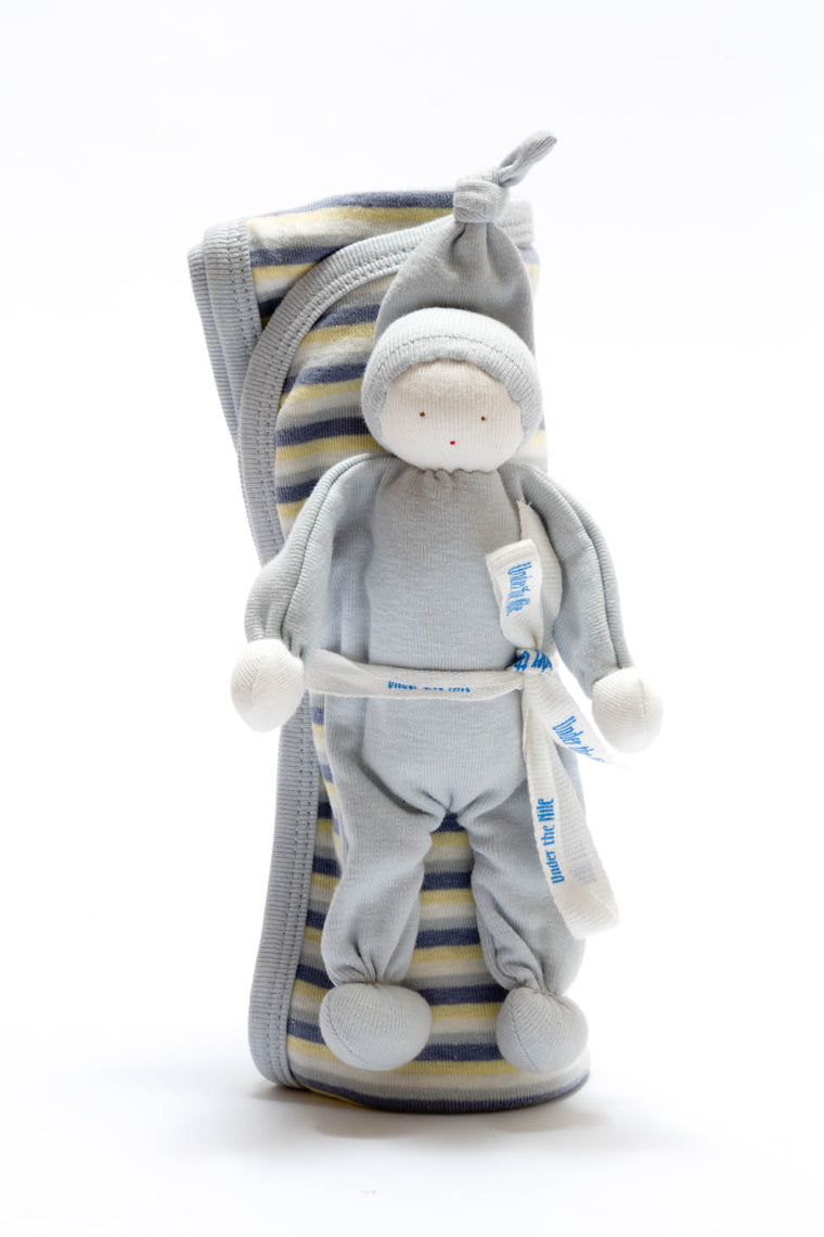 Organic Blanket and Baby Buddy Set - Blue