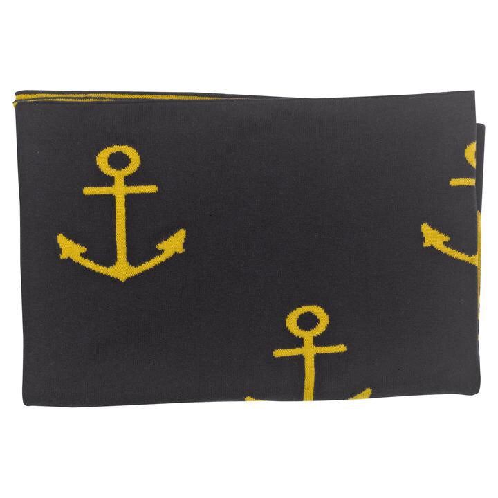 Knitted Shawl - Navy Anchor