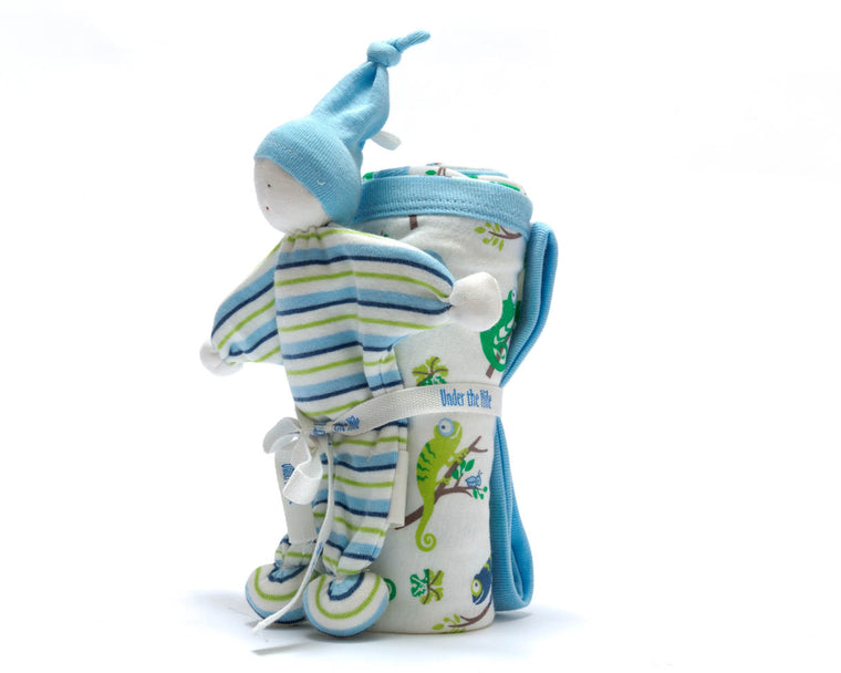 Organic Blanket and Baby Buddy Set - Chameleon
