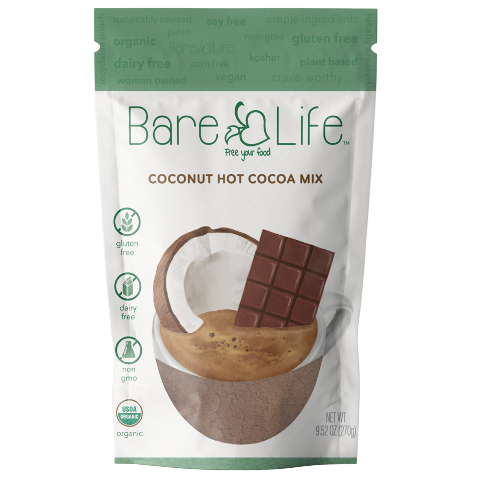 Instant Dairy Free Coconut Hot Cocoa Mix  |  10 Serving Pouch | Gluten Free, Vegan and Organic (Case of 6)