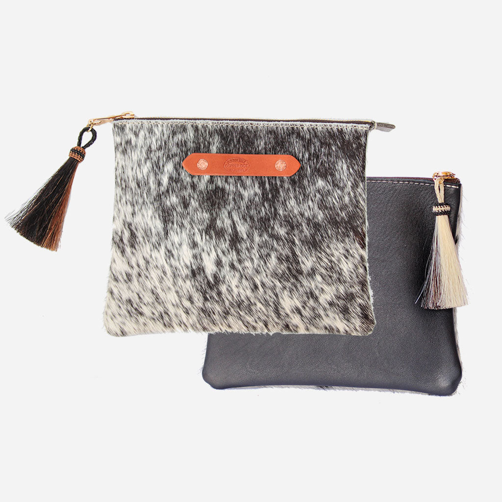 Black & Black Hide Resi Zip Clutch Copperdot Leather Goods Made in Jackson Hole, WY