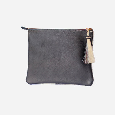 Black & Black Hide Resi Zip Clutch