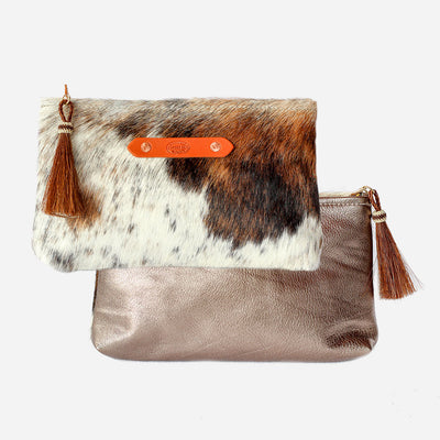 Bronze Shimmer & Brown Hide Zippy Clutch