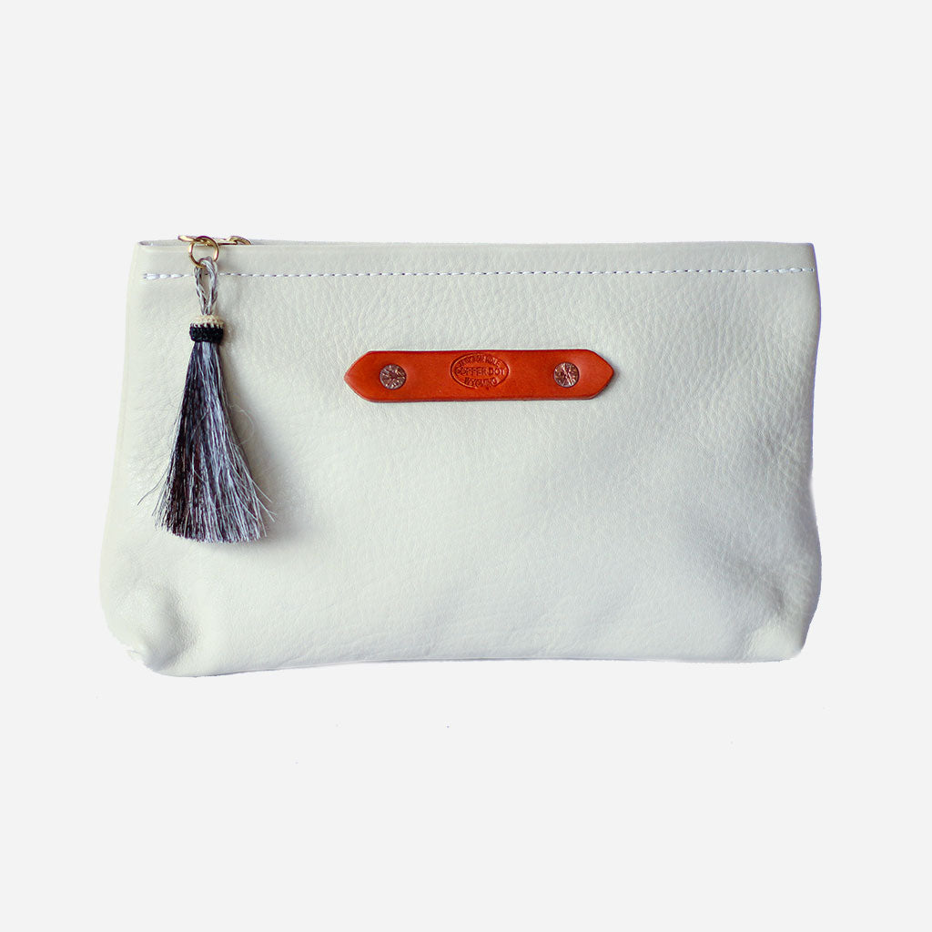 Cream Zippy Clutch