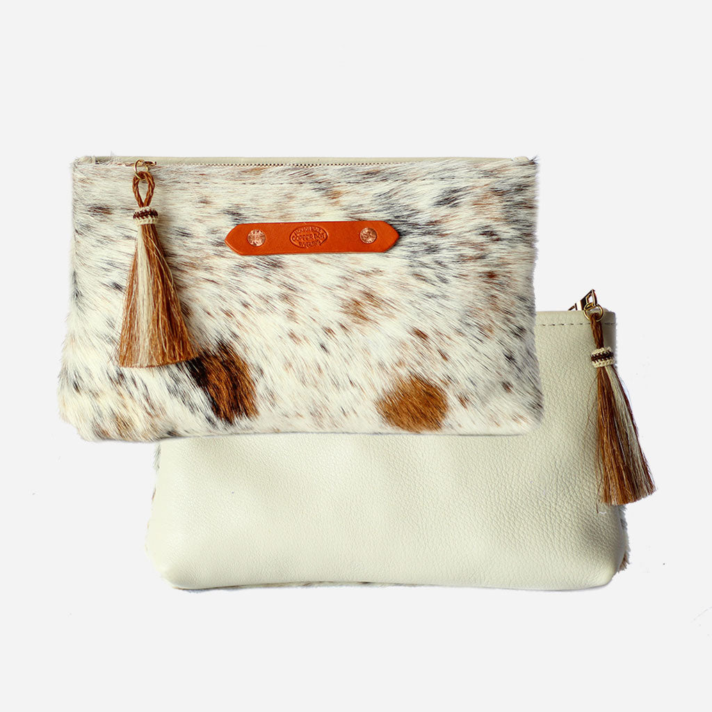 Cream & Brown Hide Zippy Clutch