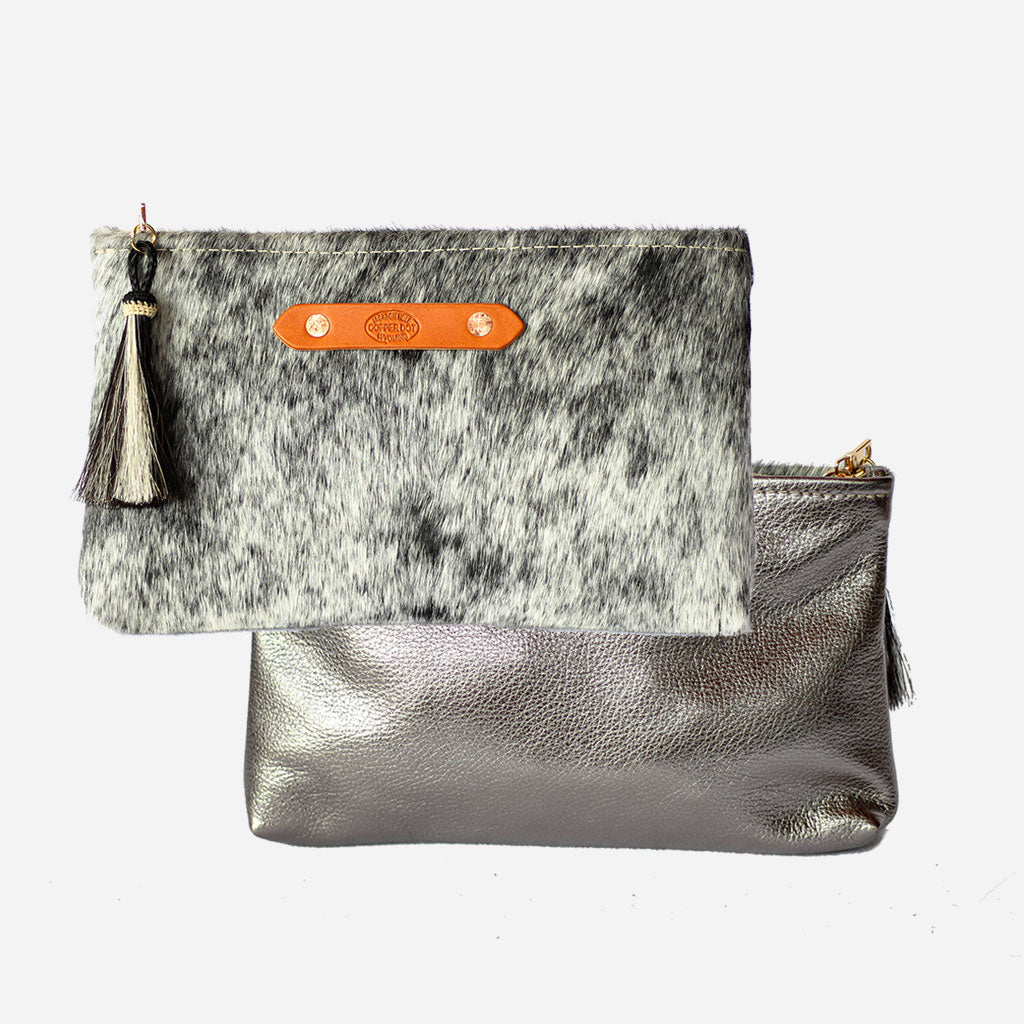 Silver Shimmer & Black Hide Zippy Clutch