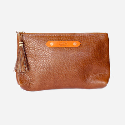 Zippy Clutch Walnut Brown | Copperdot Leather