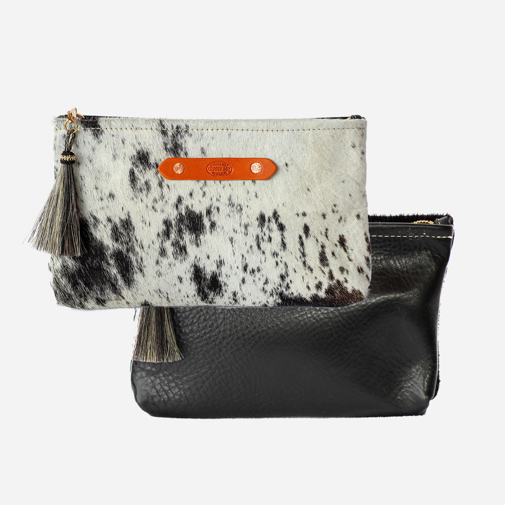 Black & Black Hide Zippy Clutch Copperdot Leather Goods Made in Jackson Hole, WY