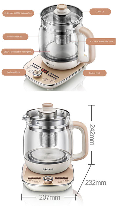 Bear Electric Health Multi-Function Kettle 20 Press Function, 1.5L (YSH-A15W6) - PowerPacSG